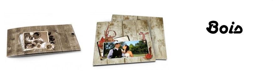 Cartes de remerciements mariage bois