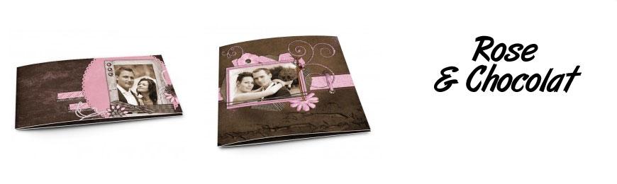 Cartes de remerciements mariage rose et chocolat