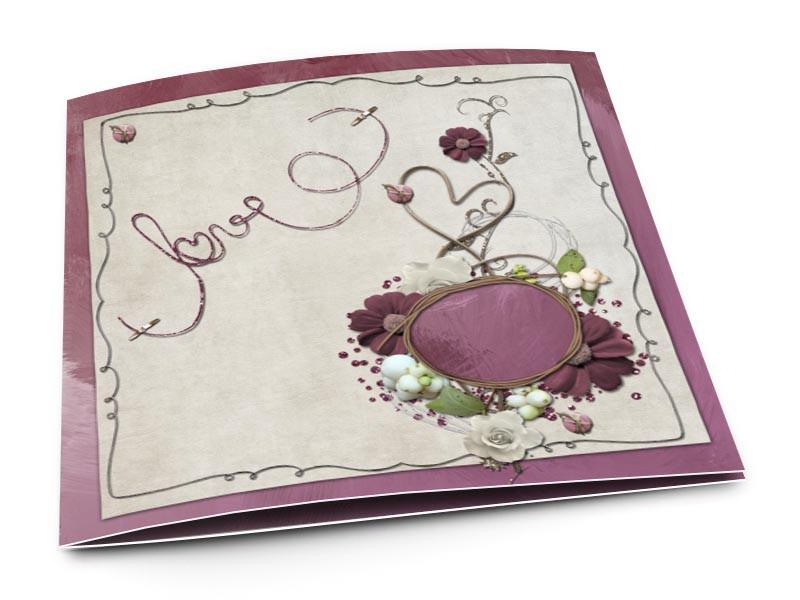 Faire-part mariage - Love pourpre