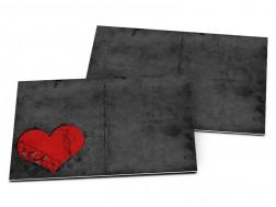 Carton d'invitation mariage - Coeur rouge sur fond noir