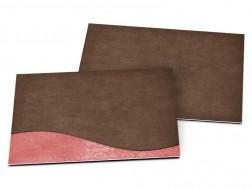 Carton d'invitation mariage - Ruban marron et rose