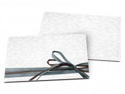 Carton d'invitation mariage - Un double ruban marron et bleu