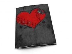 Menu mariage - Coeur rouge sur fond noir