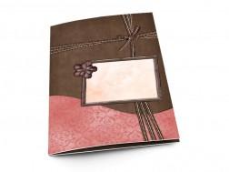 Menu mariage - Ruban marron et rose