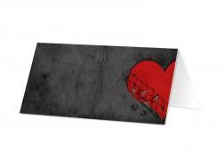 Marque-place mariage - Coeur rouge sur fond noir