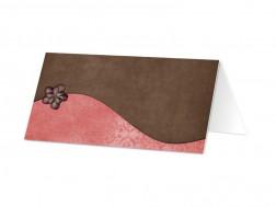 Marque-place mariage - Ruban marron et rose