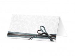 Marque-place mariage - Un double ruban marron et bleu