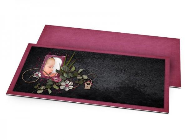 Faire-part baptême - Noir et pourpre – liane fleurie