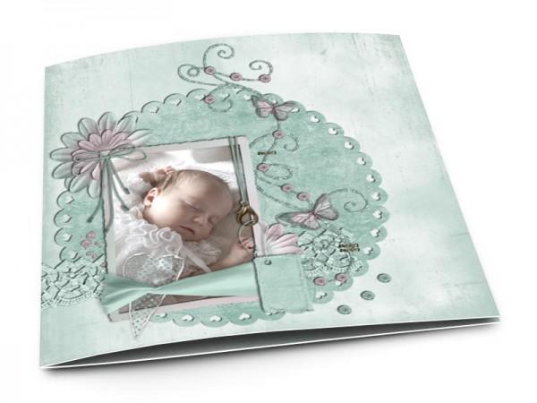 Faire-part baptême - Papillons roses et fleurs turquoise