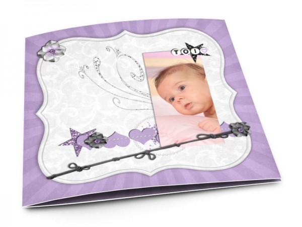 Faire-part baptême - Gris et violet
