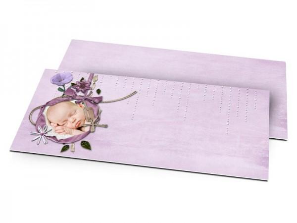 Faire-part baptême - Ruban violet et fond parme