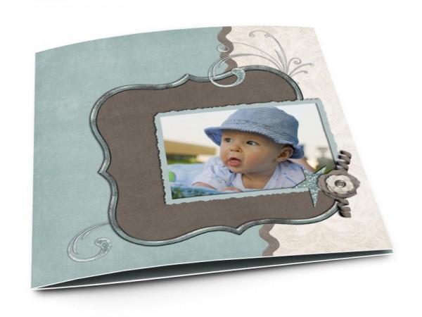 Faire-part baptême - Tricolore bleu, ivoire, gris