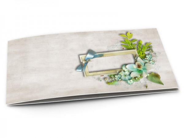 Faire-part baptême - Cadre de bois et fleurs turquoise