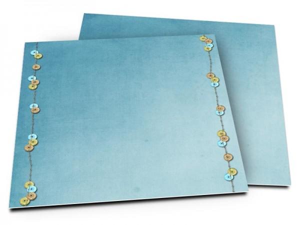 Faire-part baptême - Boutons multicolores sur fond bleu