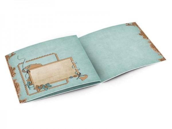 Faire-part baptême - Rubans bleu sur fond effet carton ondulé