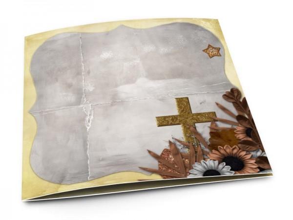Faire-part baptême - Croix d'or