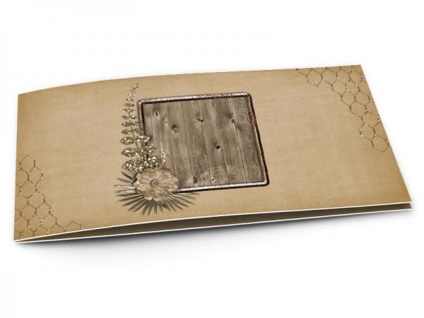 Faire-part baptême - Cadre de bois et fleur marron