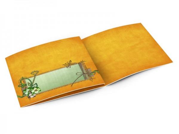 Faire-part baptême - Libellule sur fond orange