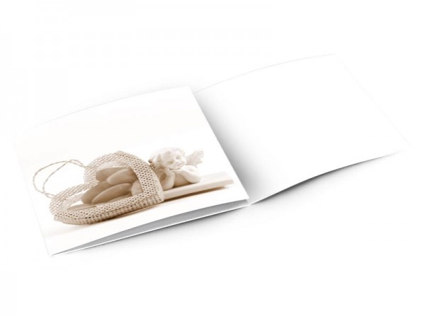 Faire-part baptême - Ange et coeur de dragées – effet sépia