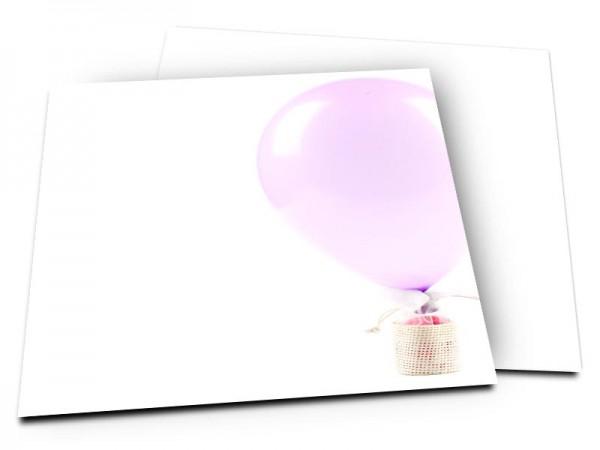 Faire-part baptême - Montgolfière rose