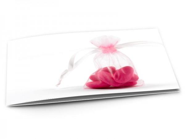 Faire-part baptême - Dragées roses