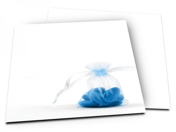 Faire-part baptême - Dragées bleues
