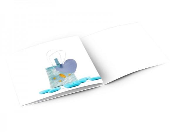 Faire-part baptême - Sac à dragées bleu