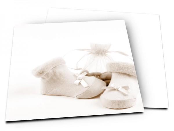 Faire-part baptême - Chaussons et dragées – effet sépia
