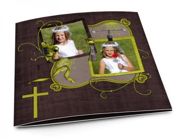 Faire-part communion - Croix verte et fond marron