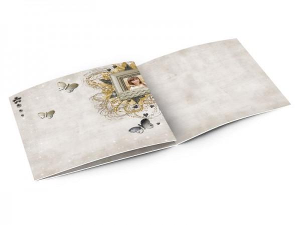 Faire-part communion - Papillons et fleur d'or sur fond scintillant
