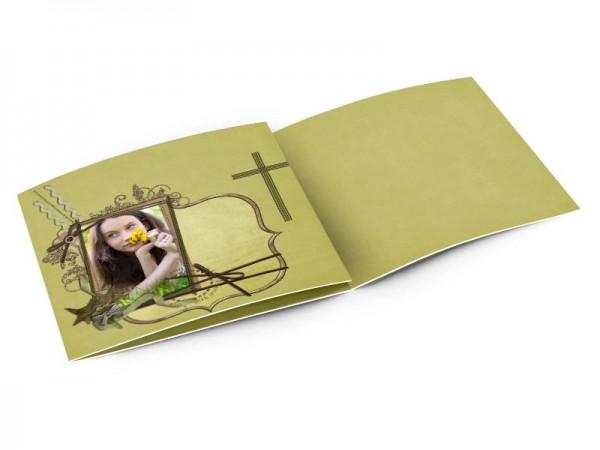 Faire-part communion - Croix verte et ornements argentés