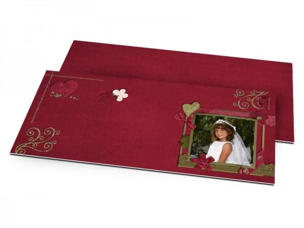 Faire-part communion - Ornements verts sur fond rose