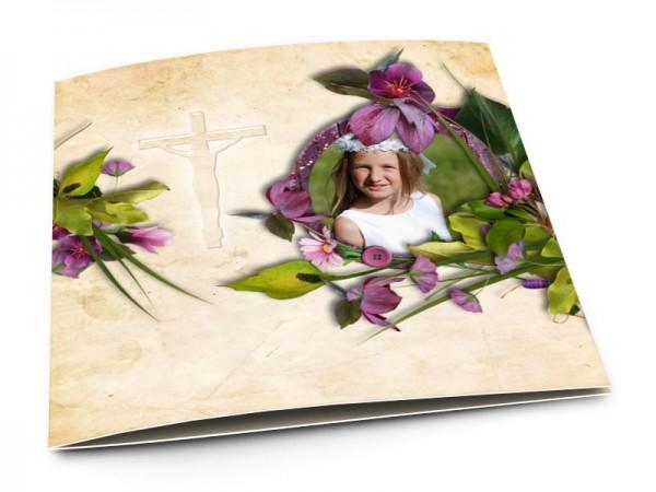 Faire-part communion - Fleurs violette et sable
