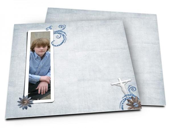 Faire-part communion - Crucifix blanc sur fond bleu