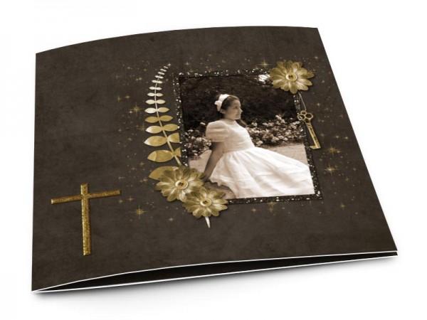 Faire-part communion - Croix dorée sur fond marron foncé
