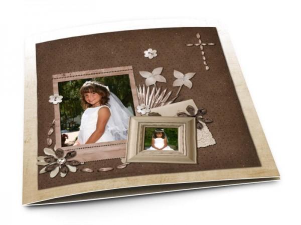 Faire-part communion - Florilège de fleurs sur fond marron