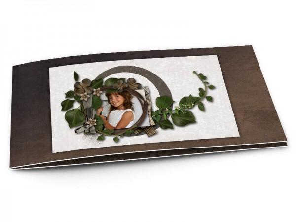 Faire-part communion - Un nid de feuilles