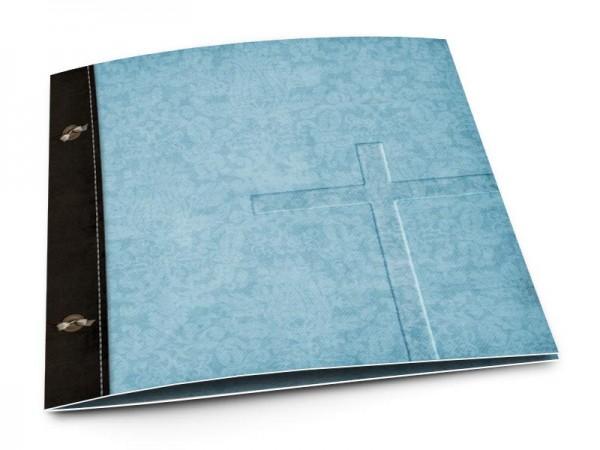 Faire-part communion - Croix bleue en filigrane