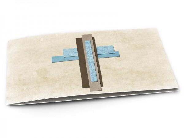 Faire-part communion - Croix bleue et marron