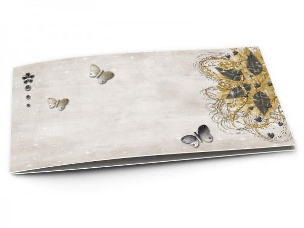Faire-part communion - Fleur scintillante et papillons