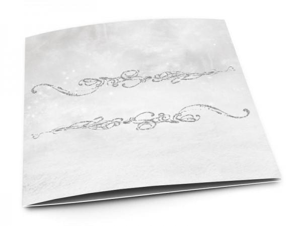 Faire-part communion - Ornements argentés sur fond gris