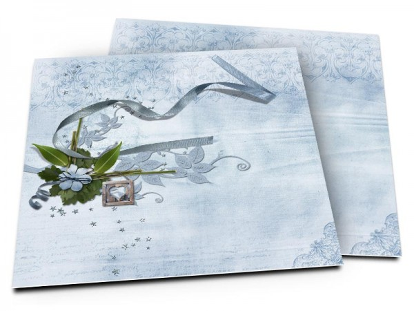 Faire-part mariage - Le ruban et la fleur bleue