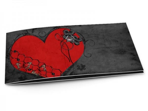Faire-part mariage - Coeur rouge sur fond noir