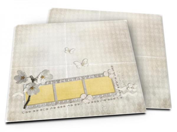 Faire-part mariage - Fleurs blanches et papillons