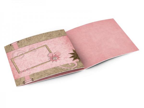 Faire-part mariage - Coeur rose et fleur chocolat