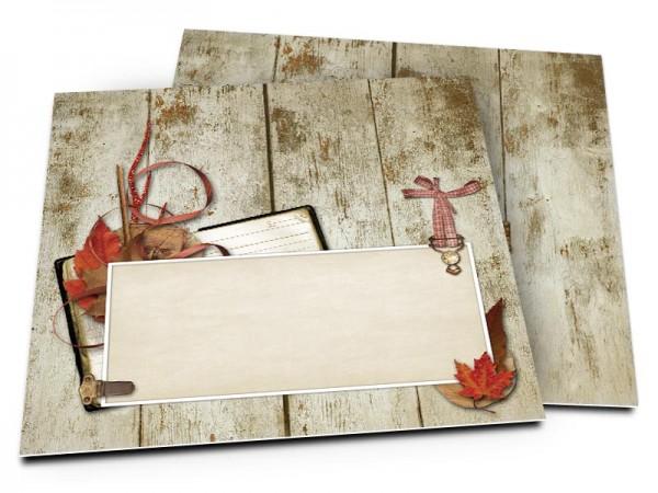 Faire-part mariage - Feuilles d'automne sur bois