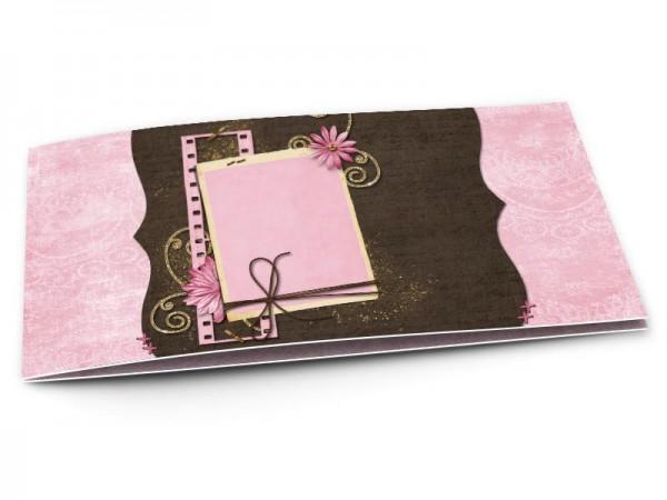 Faire-part mariage - Fleur rose, or et chocolat