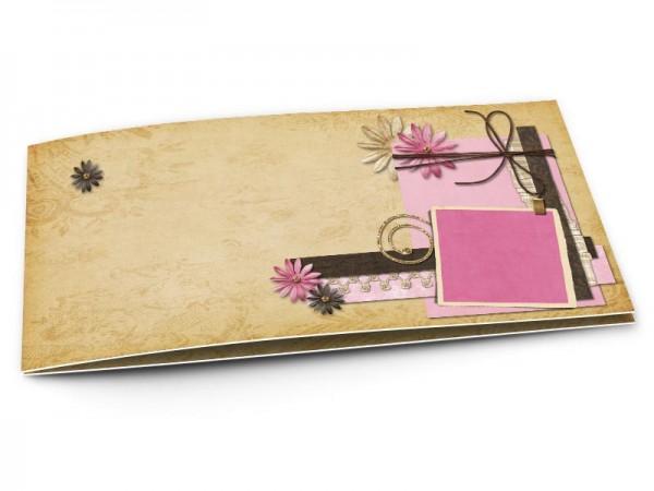 Faire-part mariage - Fleurs roses et ivoires