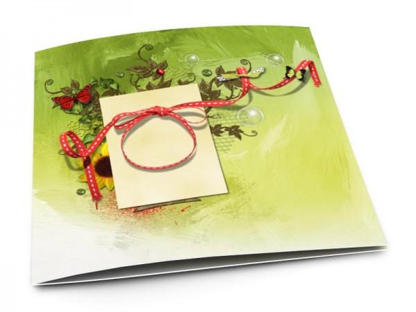 Faire-part mariage - Ruban rouge et papillons multicolores