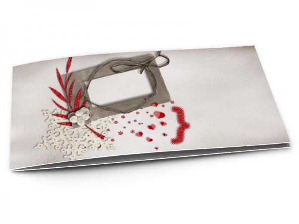 Faire-part mariage - Fleur blanche sur feuilles rouges
